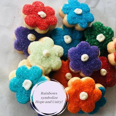 RAINBOW FLOWER SHAPED SUGAR COOKIES | 16 COOKIES