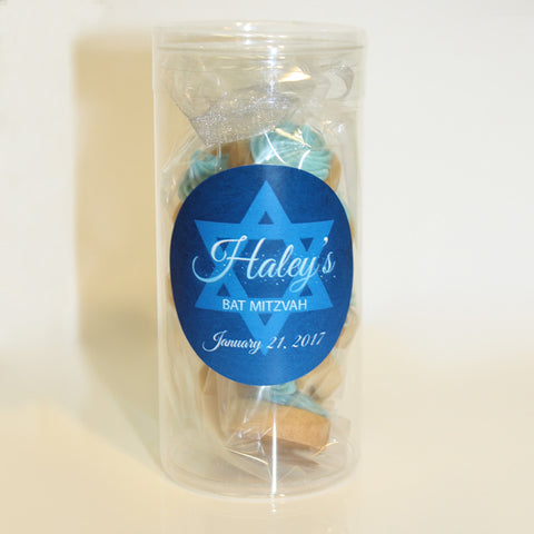 Bat Mitzvah Cookie Favors decorated sugar cookies and custom logo