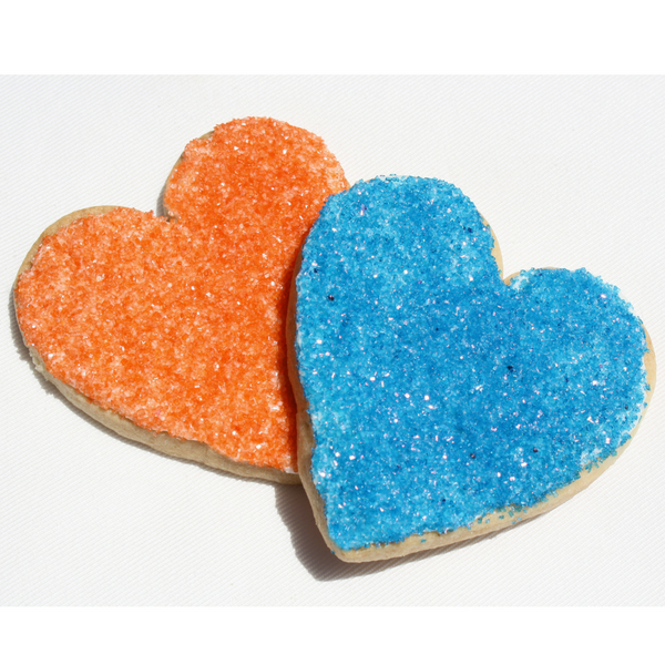 Heart Shaped Sugar Cookies  Blue and Orange Sprinkles