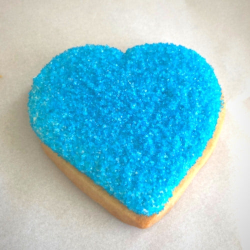 blue sugar cookie hearts with sprinkles and personalized for gifts, corporate events, or employee appreciation gifts..