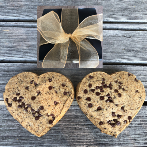 coffee cookie gift set. sugar cookie hearts infused with coffee. Personalize cookie gifts wrapped in eco-friendly wrap