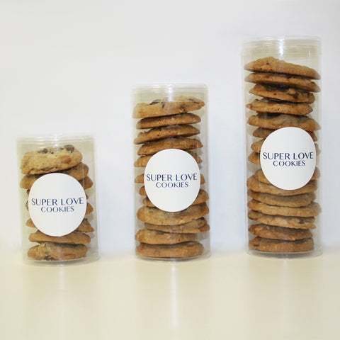 Mixed chocolate chip in three sizes. Personalize Cookie Gift tubes in three sizes