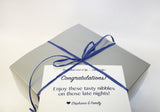 Chocolate Chip Cookie gift box in silver with blue ribbon and personalized card