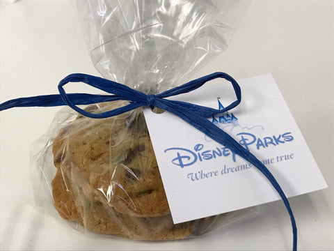 Disney chocolate chip cookie favor | Personalize cookie favors wrapped in cello with ribbon and hangtag