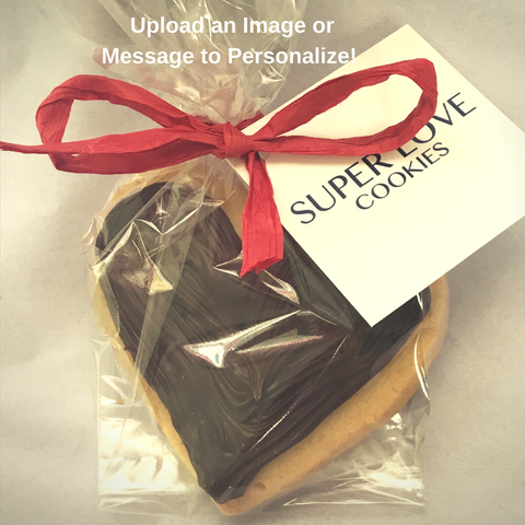 dark chocolate heart cookies personalized and gift wrapped for wedding favors or event favors