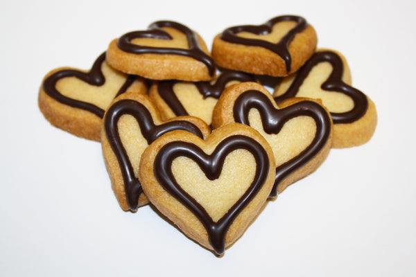 PERSONALIZED HEART SHAPED COOKIES | Petite Dark & White Chocolate Cookie Favor