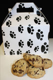 support animal shelters by purchasing paw print gift box filled with dark chocolate chip cookies from Super Love Cookies