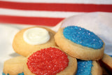 red, white, and blue sugar cookies. support our troops cookie gifts.