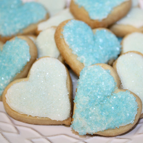 Blue & White Heart Sugar Cookies