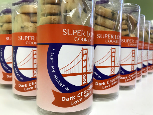 heart shaped sugar cookies in golden gate bridge packaging