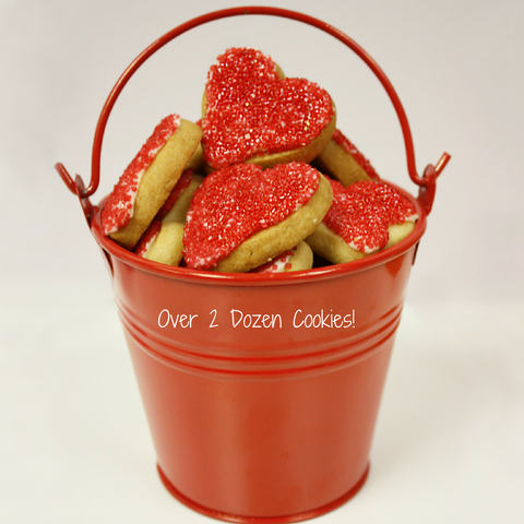 "RED HEART SHAPED SUGAR COOKIE ""Love Bucket"" (MED)"