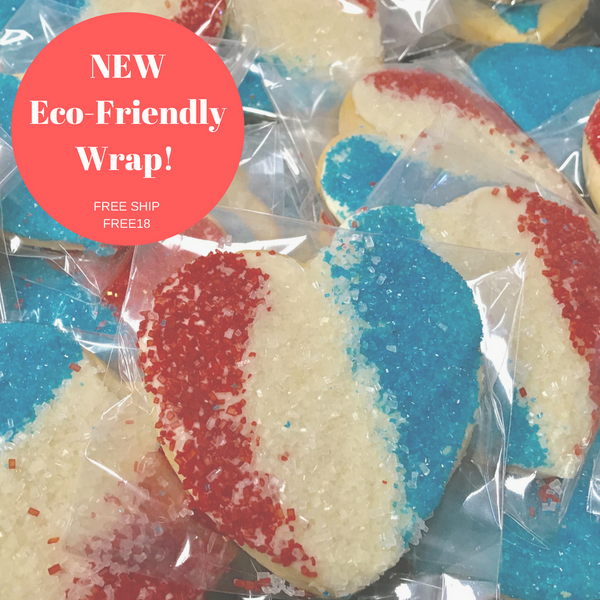 Fresh baked sugar cookie hearts in eco-friendly packaging