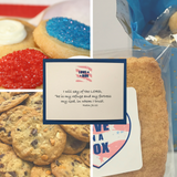 Cookie gifts to support troops packed with sugar cookies, chocolate chip cookies, jerky, toiletries