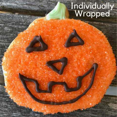 Pumpkin face decorated sugar cookie Halloween trick-o-treat gift