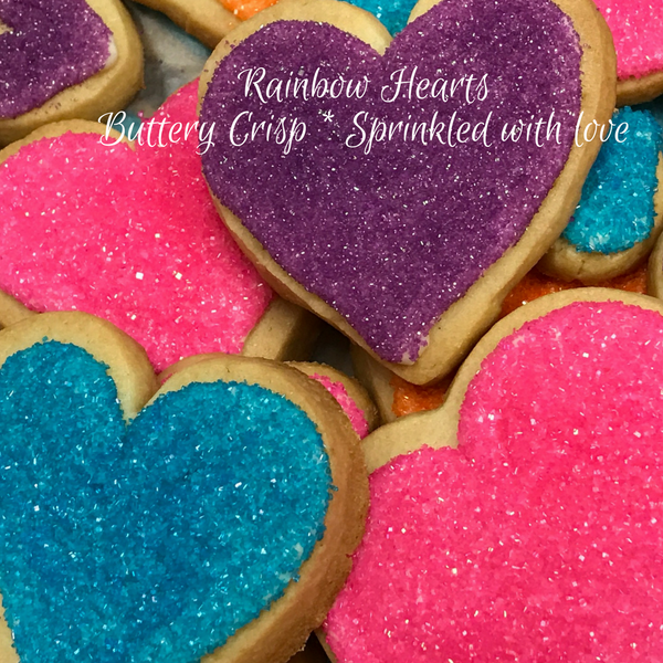 Rainbow Sprinkle Heart Shaped Cookies