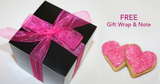 Personalized cookie gifts. Pink heart shaped cookies gift wrapped