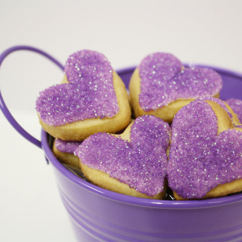 Purple Heart Shaped Cookies | Love Bucket gift | FREE GIFT WRAP