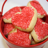Valentine's red heart shaped cookies in love bucket