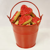red heart shaped cookie gift bucket