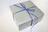 Free Gift Wrap with silver box packed with cookies and personalized noted