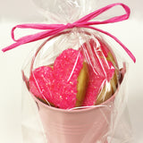 pink heart shaped cookies in pink bucket with bow personalized cookie gift