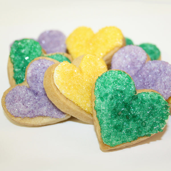 Yellow, Green and Purple Mardi Gras Heart-Shaped Sugar Cookies