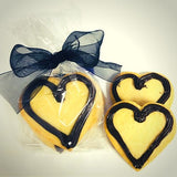 Chocolate heart shaped cookies in eco-friendly gift wrap. Ship US. Baked fresh daily