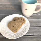 Coffee and cookies. chocolate chip coffee heart-shape sugar cookies