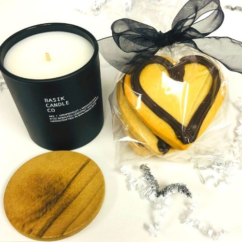 Candle gifts. all natural candle with sugar cookie hearts swirled with dark chocolate