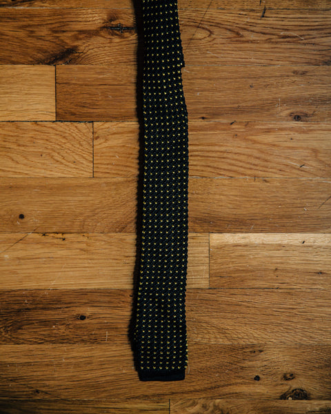 Vintage Black and Yellow Dot Skinny Knit Tie - Shop Stay Classic - 2