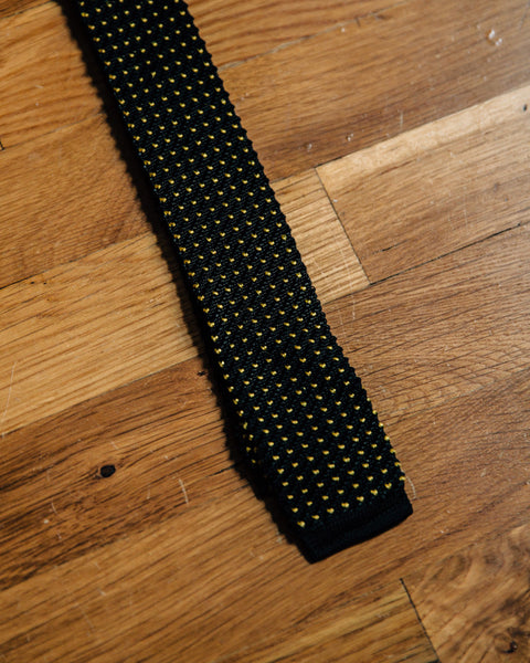 Vintage Black and Yellow Dot Skinny Knit Tie - Shop Stay Classic - 1