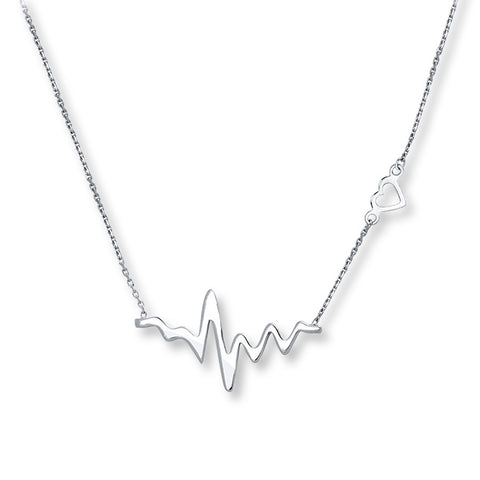 Sterling Silver ECG Heart Choker Pendant Necklace