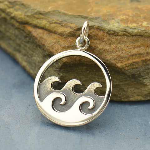 Sterling Silver Double Wave Charm Necklace