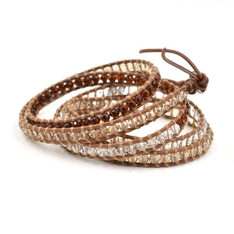 Natural Crystal Wrap Bracelet multilayer Wrap Leather