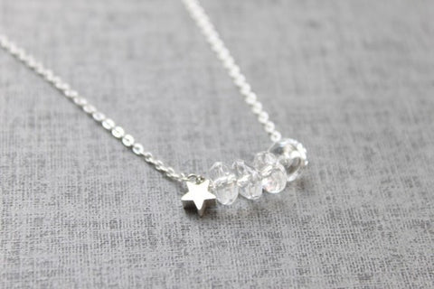 Crystal Necklace with Dainty Star Charm