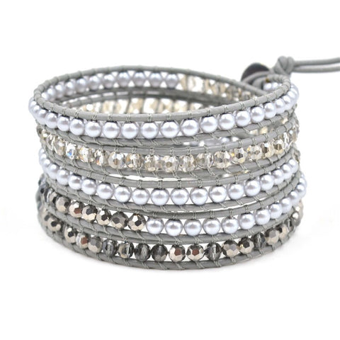 Grey Crystal Leather Wrap Bracelet