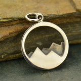"Sterling Silver Mountain Range Pendant Necklace with 18"" Chain"