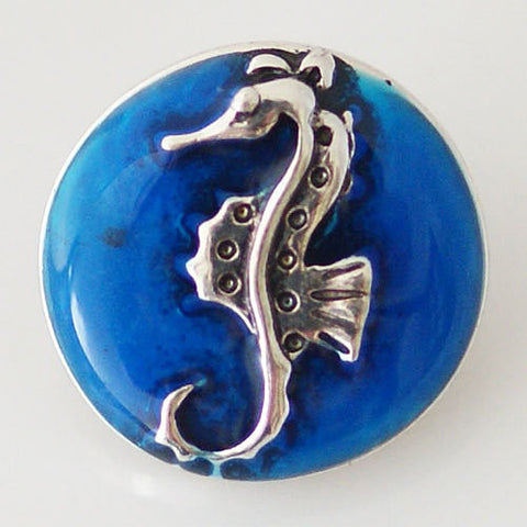 Seahorse Shaped 20mm enamel snap button jewelry