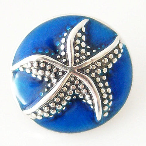 Starfish Shaped 20mm enamel snap button jewelry