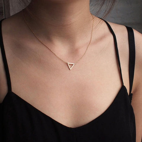 "Delicate Silver Triangle Necklace on 18"" Silver Chain - Symbolizes Resilience"