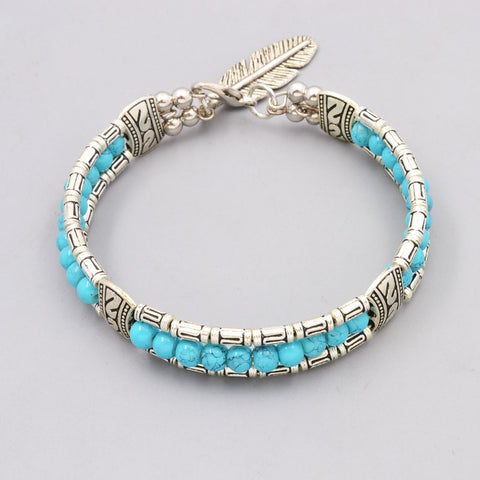 Silver Plated Turquoise Beads Leaf Bangle