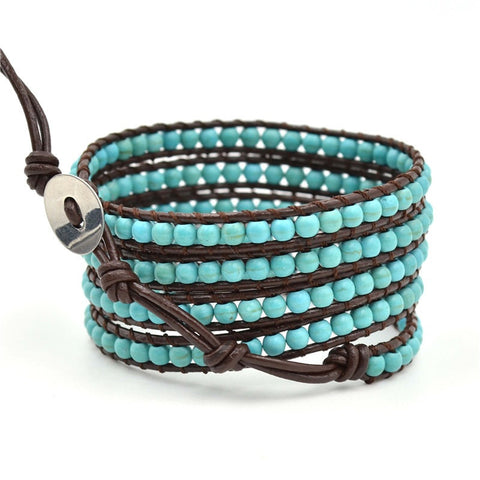 Hand-woven 4MM Natural Turquoise on Brown Leather Wrapped Bracelet