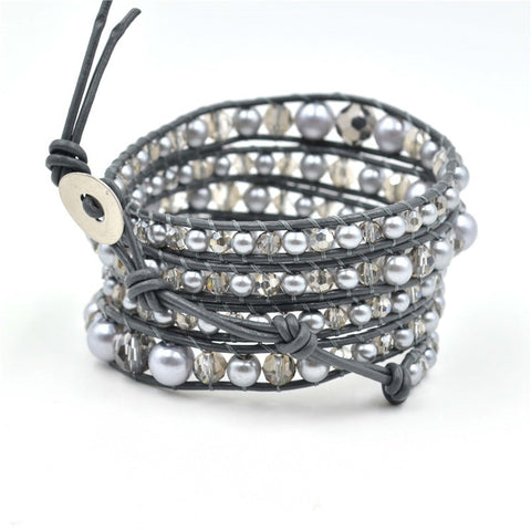 Pearl and Crystal Genuine Leather Wrap Bracelet
