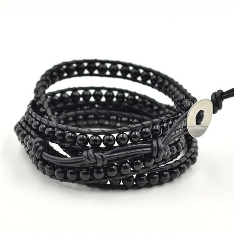 Midnight Crystal Wrap Bracelet multilayer Wrap Leather