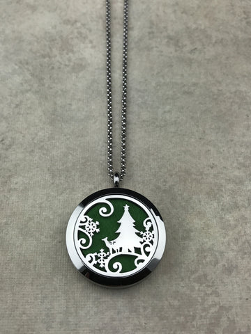 Winter Scene Aromatherapy Diffuser Necklace