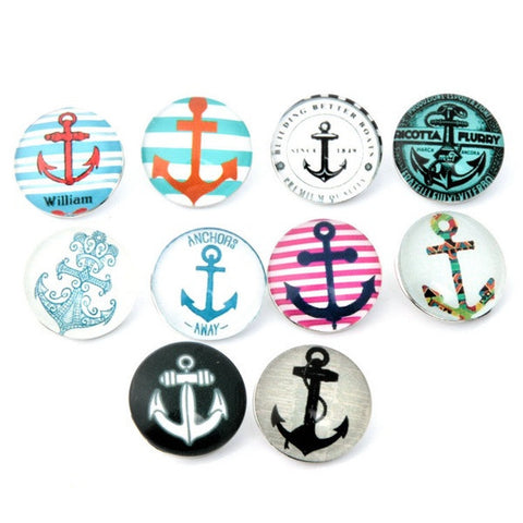 Glass Anchor Snaps Jewelry Size 18mm