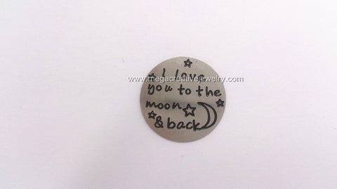 I love you to the moon & back 22mm stainless steel silver floating locket plate fits memory lockets 30mm
