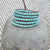 Turquoise Leather Wrap Bracelet natural 6mm Turquoise beads