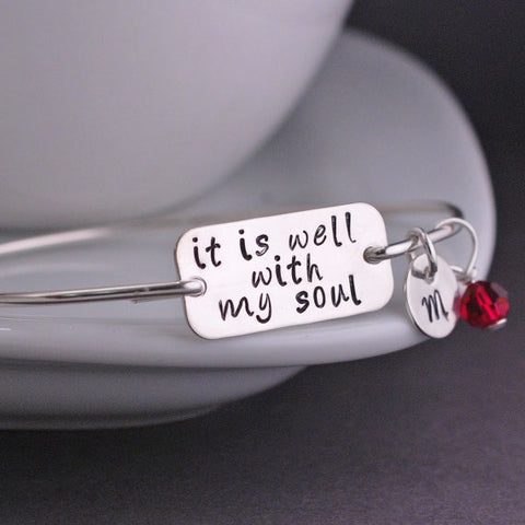 It Is Well With My Soul - Silver Bangle