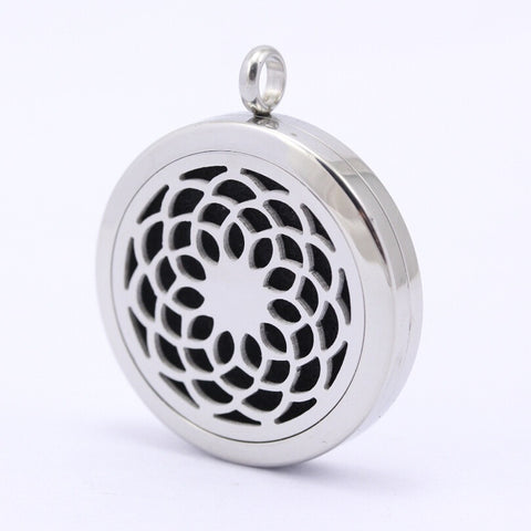 Round Lotus Flower Aromatherapy Diffuser Necklace